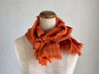 夕焼け色のストール 茜染め 手紡ぎウールの画像