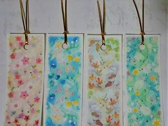 パステルアートの栞(しおり)4種類 春夏秋冬のブックマークの画像