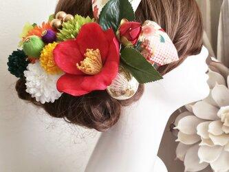 花姫 江戸椿と銀杏形リボンの髪飾り13点Set No608の画像