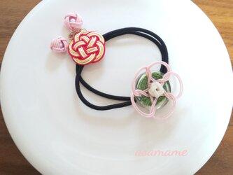 水引 ヘアゴム 桃桜 2本セットの画像