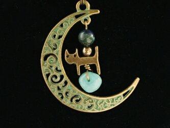 緑の月猫☆クリソコラとアマゾナイト☆天然石ネックレスの画像
