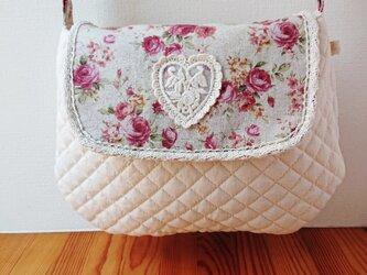 薔薇のキルティングショルダーバッグ♪ピンクの画像