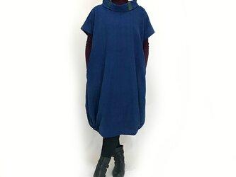 藍染手織綿、大きいサイズの着物古布付きバルーンワンピースの画像