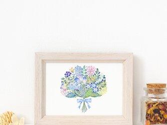 """絵のある暮らし。額装アートプリント """"青色の花束"""" FAPR-L470の画像"""
