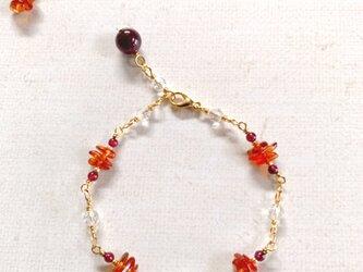 天然石のブレスレット(アンバー×ガーネット×水晶)の画像
