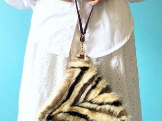 テトラ 2WAY バッグ 3色 ミンクファー & 牛革 ペイズリー ワインレッドの画像