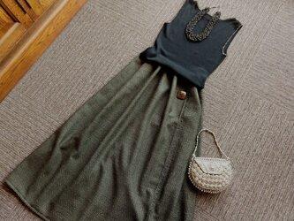 ★78㎝まで★グレンチェックのハンサム・スカート★黒xカーキ★受注製作★の画像