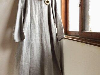 リネン100丸襟ワンピース ライトグレーの画像