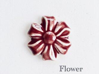 Flower ボルドー : 陶器 : ブローチ/ヘアゴムの画像