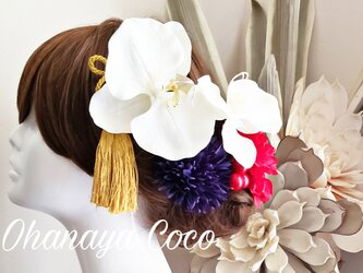 hirahira蝶舞う 胡蝶蘭と真っ赤なダリアの髪飾り7点Set No609の画像