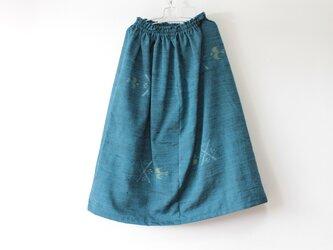 ☆紬着物スカート☆ブルー系♪/31ks50の画像