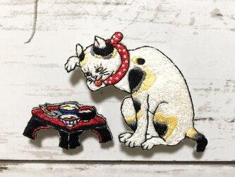手刺繍浮世絵ブローチ*歌川国芳「たとえ尽の内 」より猫舌の画像