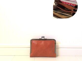 上質牛革  仕切り miniがま口財布◆ブラウン お札2つ折りタイプの画像