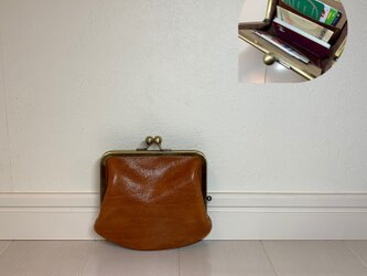 上質牛革  ポッケ付き miniがま口財布◆ブラウンの画像