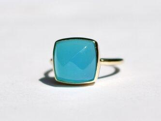 Sea blue chalcedony Ringの画像