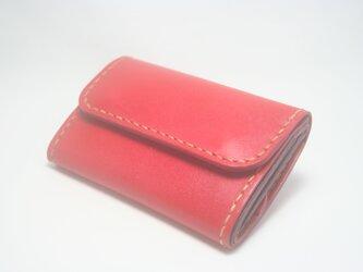 ♪キーケースサイズ レザーミニマルウォレット 小さい財布 レッド♪の画像