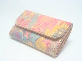 ♪キーケースサイズ レザーミニマルウォレット 小さい財布 マーブリング♪の画像