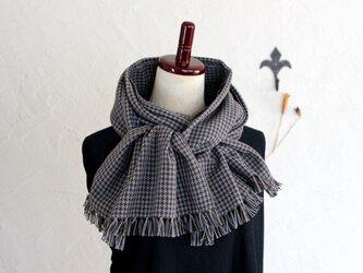 手織りコットンストール 3シーズンチクチクしない ブラウン&グレー千鳥格子の画像