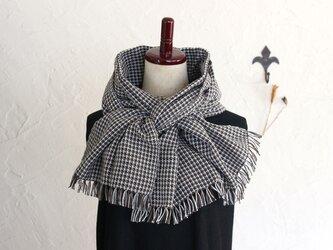 手織りコットンストール 3シーズンチクチクしない ブラウンxグレーxホワイト チェック柄の画像