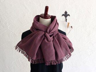 手織りコットンストール 3シーズンチクチクしない 千鳥格子ローズxブラウンの画像