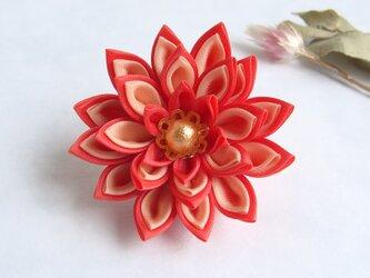 <送料無料>つまみ細工 お花のポニーフック ピンクの画像