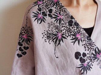 リネン・羽織り くすみピンク <海中植物>の画像