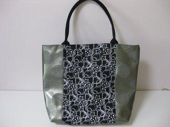 シンプル白黒猫トートバッグの画像