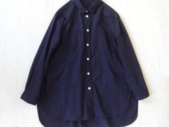 ヴィンテージ コットン100双強撚ツイルワッシャー・プチカラーシャツの画像