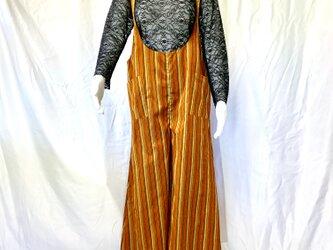 家で洗えるサロペットパンツ de 着物 オレンジストライプの画像