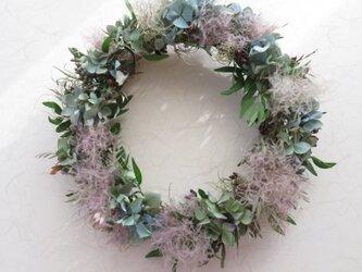 秋色紫陽花とスモークツリーのリースの画像