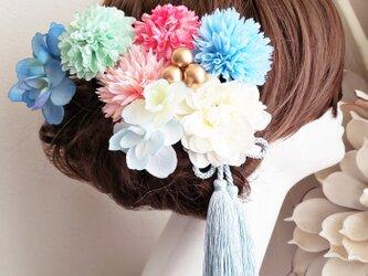 fuwafuwaマムと紫陽花の髪飾り9点Set No611の画像