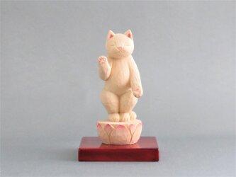 木彫り 立ち阿弥陀猫 猫仏1923の画像