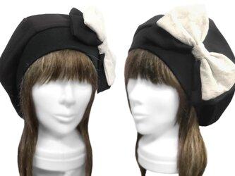 リボン飾り/リブ付ベレー帽(ゆったり)◆ウールストレッチ/ブラックの画像
