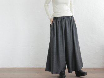 起毛ハーフリネン ワイドパンツ ロング丈スカーチョ (ストライプ/グレー)の画像