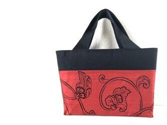 帯バッグ〜黒と赤の花更紗〜の画像