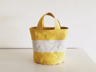OVALTOTE - stripe - (M) / mustard & ecruの画像