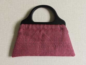 手織りウッドハンドルバッグ(Wood handle bag Pink herringbone& bird's-eye)の画像