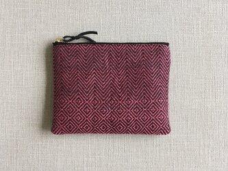 手織りミニポーチ(Accessory case 14cm Pink herringbone& bird's-eye)の画像