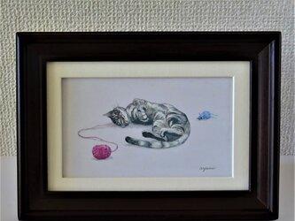 小さな猫の絵【アメリカンショートヘア】の画像