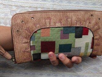 刺繍革財布「街」ゴブラン織コンビ(ヤギ革)ラウンドファスナー型 の画像