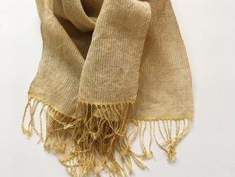 手織りシルクリネンショール(Shawl pinstripe Yellow)の画像