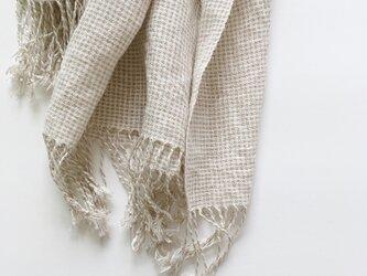 手織りシルクリネンショール(Shawl Small check pattern)の画像