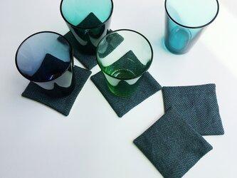 手織りコースター(Coaster Herringbone Linen #2)の画像