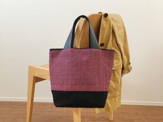 手織りトートバッグ(Tote bag Pink herringbone)の画像