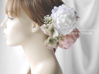 ピオニーとアジサイのヘッドドレス/ヘアアクセサリー(ナチュラルホワイト)*結婚式・成人式・ウェディングドレスにの画像