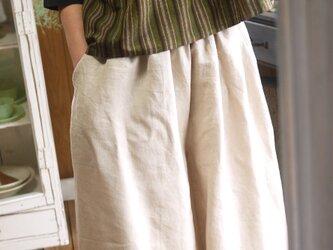 リネンと久留米絣ポケットのパンツの画像
