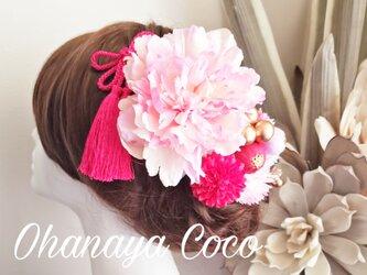 甘花 ピンク系お花と和ponボールの髪飾り10点Set No612の画像