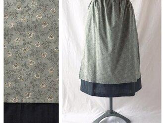 【肌ざわり至上主義】野あざみのエプロンスカート:75cm(モスグリーン)の画像