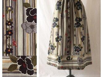 【和柄】はんなりと可愛い裾切替スカート:80cm丈(ブラック)の画像