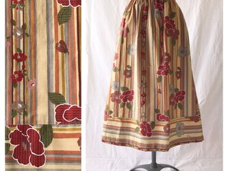 【和柄】はんなりと可愛い裾切替スカート:80cm丈(レンガ)の画像